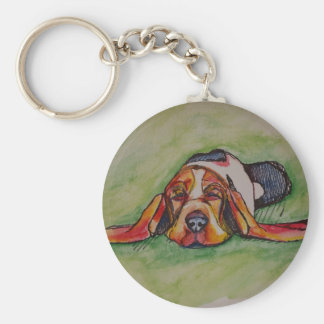 居眠りのバセットの猟犬 キーホルダー