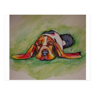 居眠りのバセットの猟犬 ポストカード