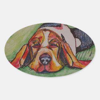 居眠りのバセットの猟犬 楕円形シール