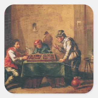 居酒屋のバックギャモンを遊んでいる人 スクエアシール