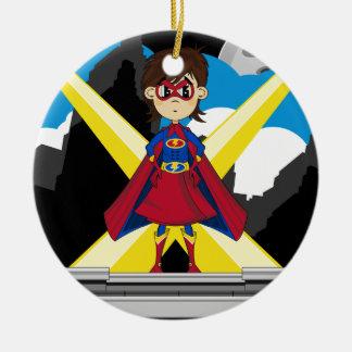 屋上のスーパーヒーローの女の子 セラミックオーナメント