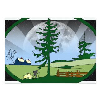屋外の月場面 カード
