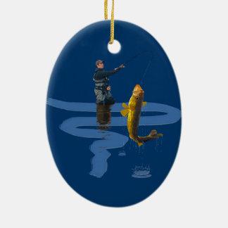 屋外の漁師のスポーツのなギフトを採取しているWalleye セラミックオーナメント