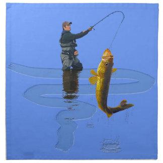 屋外の漁師のスポーツのなギフトを採取しているWalleye ナプキンクロス