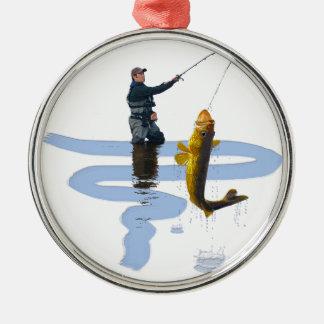 屋外の漁師のスポーツのなギフトを採取しているWalleye メタルオーナメント
