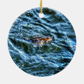 屋外の漁師のスポーツのな芸術を採取しているWalleye セラミックオーナメント