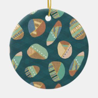 屋外のGeo XII |の青及び緑の幾何学的なパターン セラミックオーナメント