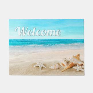 屋外夏のビーチの海の貝のヒトデの歓迎 ドアマット