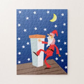 屋根のクリスマスおもしろいなサンタクロース ジグソーパズル