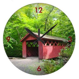 屋根付橋の柱時計 ラージ壁時計