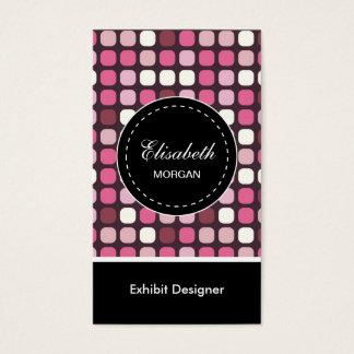 展示物デザイナーピンクのポルカパターン 名刺