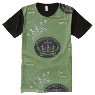 展開のロゴのヴィンテージの服装のワイシャツ オールオーバープリントT シャツ
