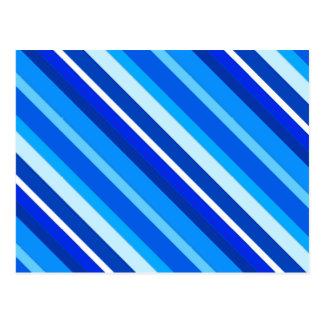 層にされたキャンデーは-コバルトおよび淡いブルー縞で飾ります ポストカード