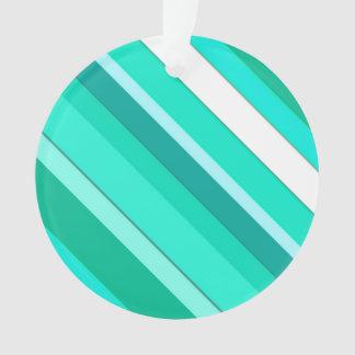 層にされたキャンデーは-ターコイズおよび白縞で飾ります オーナメント