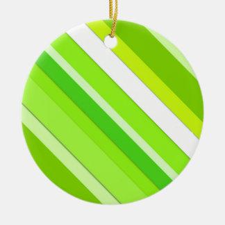 層にされたキャンデーは-ライムグリーンおよび白縞で飾ります セラミックオーナメント