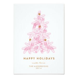 層にされたピンクのクリスマスツリー 12.7 X 17.8 インビテーションカード