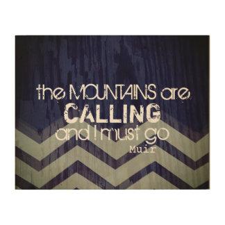 山が呼んでいる壁の芸術の引用文 ウッドウォールアート