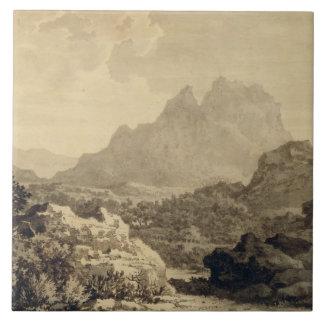 山が多い景色、c.1780 (灰色および茶色の洗浄 タイル