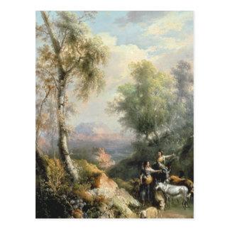 山が多くスペインのな景色のGoatherds ポストカード