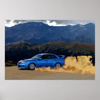 山で漂うSubaru青いSTi ポスター