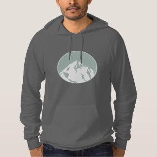 山のつまらないロゴのティーのフリースのプルオーバーのフード付きスウェットシャツ パーカ