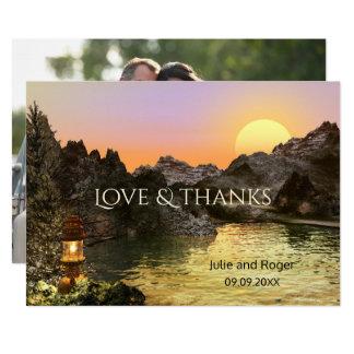 山のカスタムな写真の結婚式のサンキューカード カード