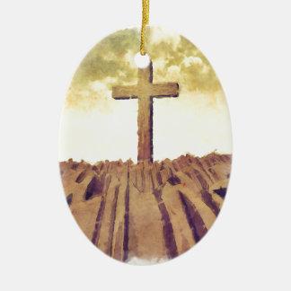 山のキリスト教の十字 セラミックオーナメント