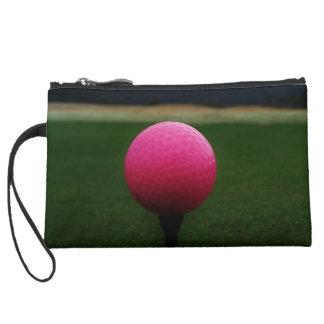 山のゴルフコースのピンクのゴルフ・ボール スエードクラッチ