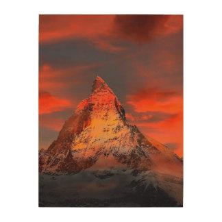 山のスイス連邦共和国マッターホルンZermattの赤の空 ウッドウォールアート
