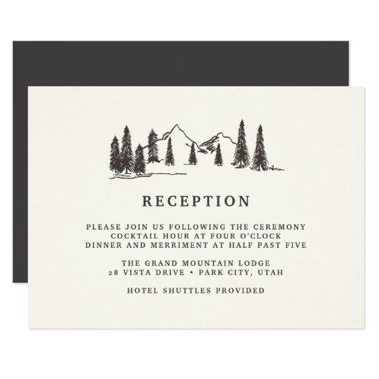 山のスケッチの披露宴カード 8.9 X 12.7 インビテーションカード