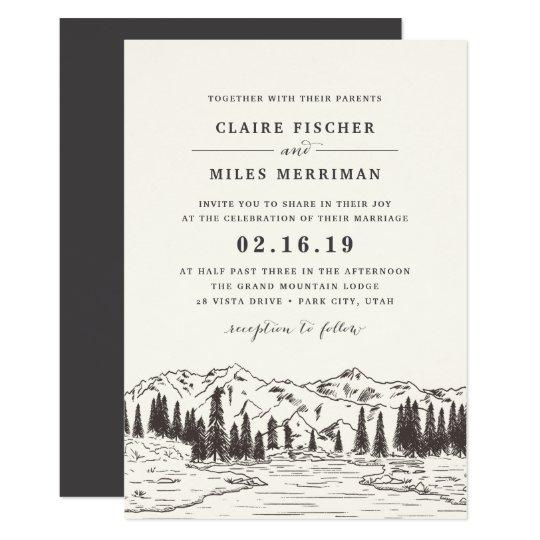 山のスケッチの結婚式招待状 カード