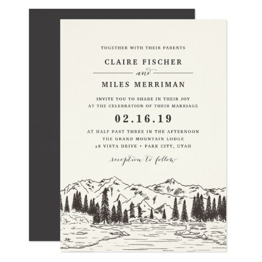 山のスケッチの結婚式招待状 12.7 X 17.8 インビテーションカード