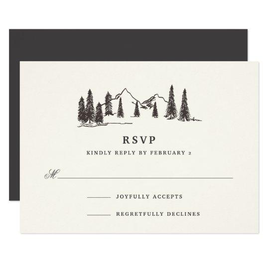 山のスケッチRSVPカード カード