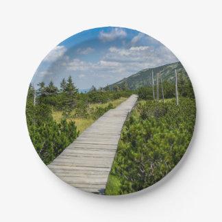 山のツンドラ木道の景色 ペーパープレート