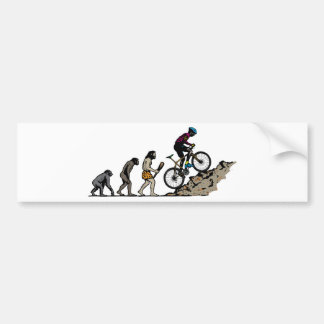 山のバイクもしくは自転車に乗る人 バンパーステッカー