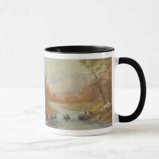 山の入り江の景色のマグ マグカップ