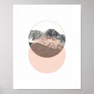 山の写真ポスター|ミニマルなピンクの芸術 ポスター