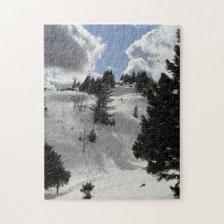 山の冬の晴れた日 ジグソーパズル