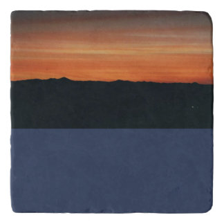 山の日没場面の大理石のTrivet トリベット