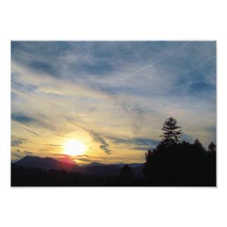 山の日没 フォトプリント