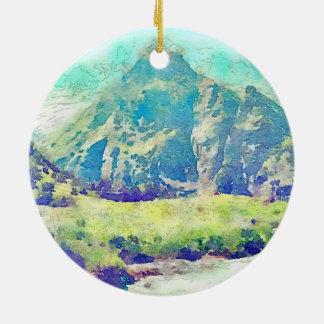 山の景色の水彩画 セラミックオーナメント