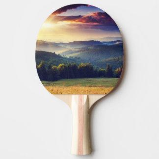 山の景色4の威厳のあるな日没 卓球ラケット