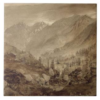 山の景色、Macugnaga 1845年(ペン及び茶色I タイル