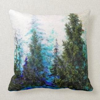 山の松の木の森林景色 クッション