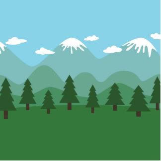 山の森林 写真彫刻(台付き)