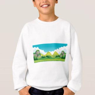 山の背景が付いている緑分野の場面 スウェットシャツ