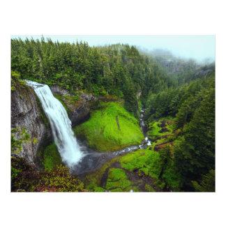 山の谷の森林の滝 チラシ