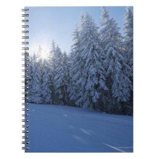山の雪が多い森林 ノートブック