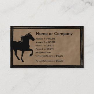 山の馬のシルエットの人物点描 名刺