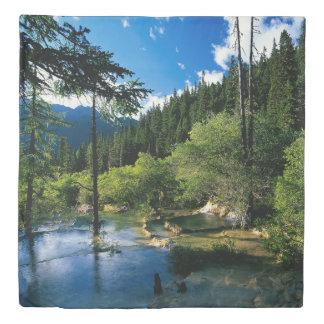 山のforest湖(2つの側面)の女王の羽毛布団カバー 掛け布団カバー